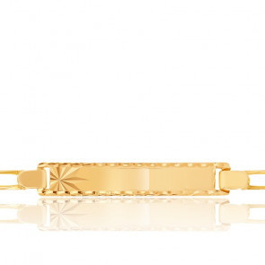 Gourmette enfant maille cheval alternée rectangle, Or jaune 18K - Lucas Lucor