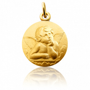 Médaille Ange Raphaël Pensif 16 mm, Or Jaune 18K - Martineau