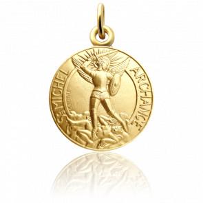 Médaille Saint Michel au bouclier, Or Jaune 18K - Martineau