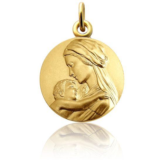 Médaille Vierge à l'Enfant Tendresse, Or Jaune 18K - Martineau