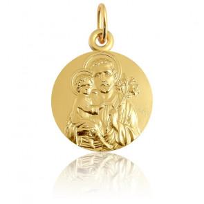 Médaille ronde Saint Joseph, Or Jaune 18K - Martineau
