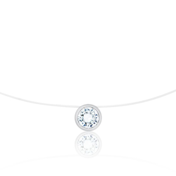 Collier fil nylon, Diamant G SI2 (serti clos) - Diamond Lady