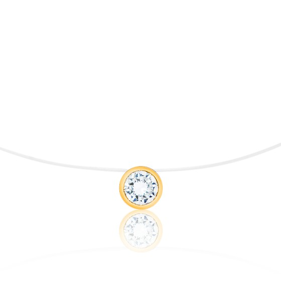 Collier fil nylon, Diamant G SI2 (serti clos) et Or jaune 18K - Diamond Lady
