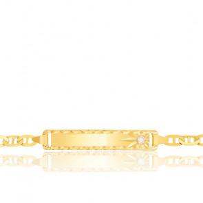 Gourmette bébé maille marine plate, Or jaune 18K et diamant - Lucas Lucor