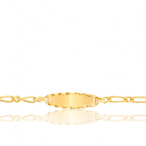 Gourmette enfant cheval alternée simple, Or jaune 18K - Lucas Lucor