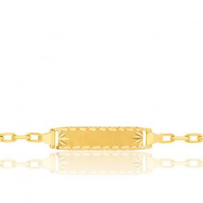 Gourmette bébé maille forçat diamantée ovale, Or jaune 18K - Lucas Lucor