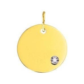 Médaille ronde à graver, Or jaune 9 ou 18K et diamant - Emanessence