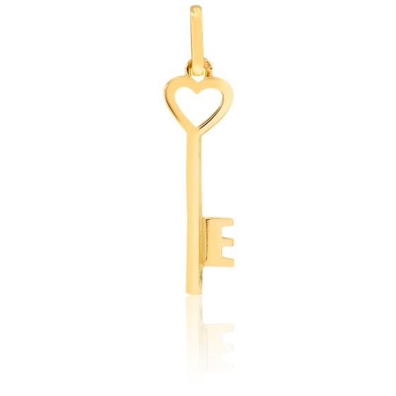 Pendentif clé et coeur, Or jaune 9 ou 18 carats - Lucas Lucor