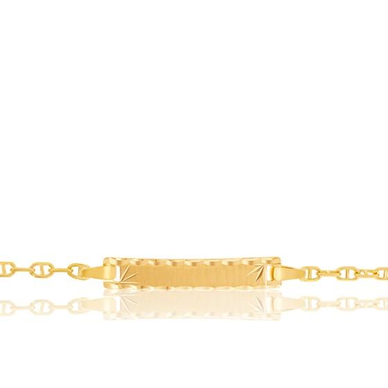 Gourmette bébé rectangle maille marine, Or jaune 18K - Lucas Lucor