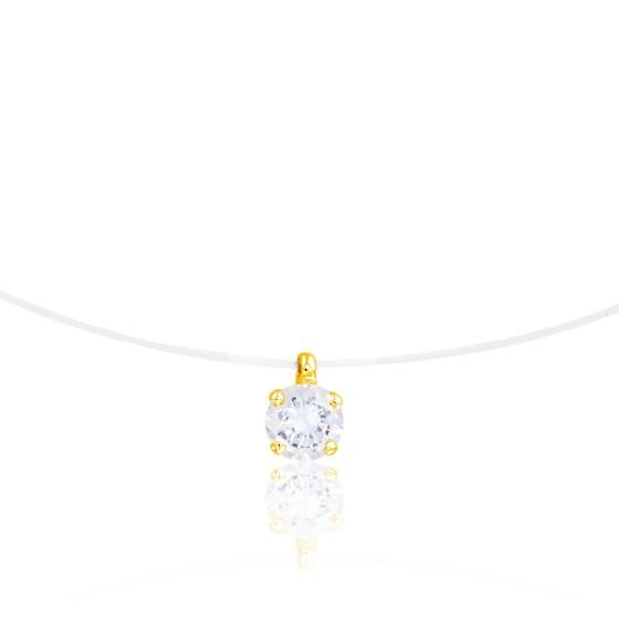 Collier en Or jaune fil nylon, Diamant H/P1 (serti 4 griffes) - Diamond Lady