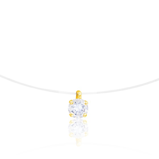 Collier fil nylon, Diamant H/P1 (serti 4 griffes) Or jaune  - Diamond Lady