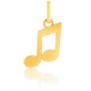Pendentif Double note de musique, Or jaune 9 ou 18K - Lucas Lucor