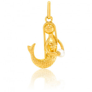 Pendentif Sirène, Or jaune 18K et perle - Lucas Lucor