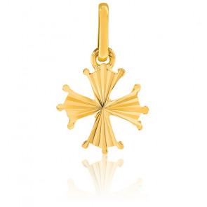 Pendentif croix occitane lapidée, Or jaune 9 ou 18 carats - Lucas Lucor