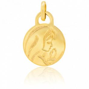 Petite médaille Vierge au voile, Or Jaune 18K - Stella Milano