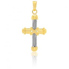 Croix liens, Acier et Or jaune 18K - Emanessence