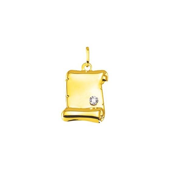 Pendentif parchemin, Or jaune 9 ou 18K et diamant - Emanessence