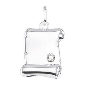 Pendentif parchemin, Or blanc 9K et diamant - Emanessence
