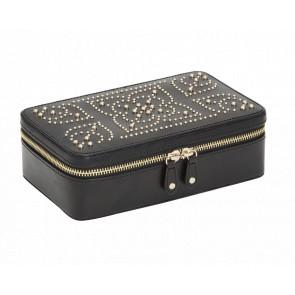 Boîte à bijoux zip Marrakesh, Cuir noir - Wolf 1834