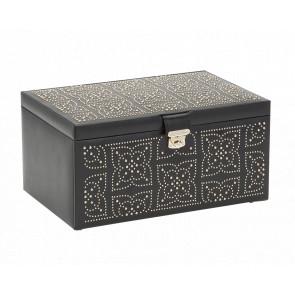 Boîte à Bijoux Cuir Noir Large Marrakesh - Wolf 1834