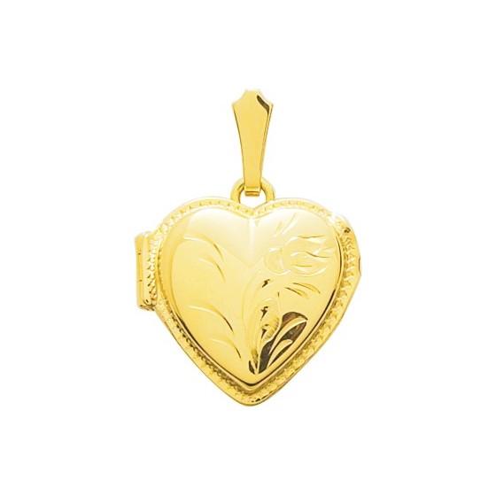 Pendentif photo coeur fleuri, Or jaune 18K - Emanessence