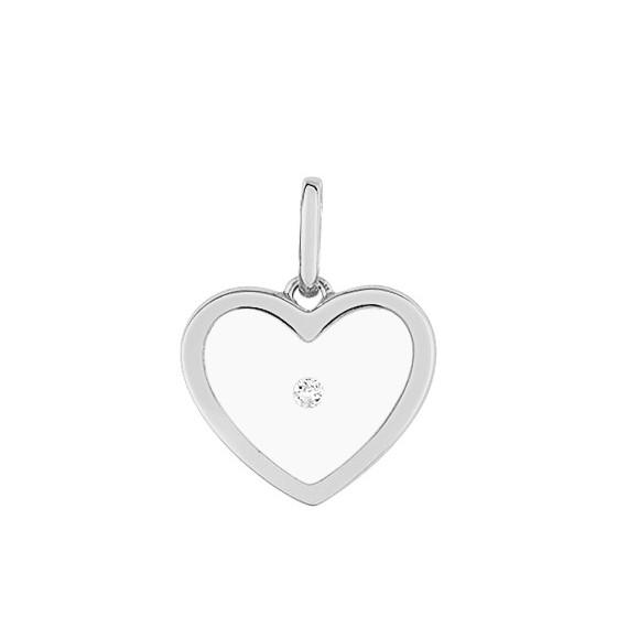 Pendentif coeur transparent, Or blanc 9K et diamant - Emanessence