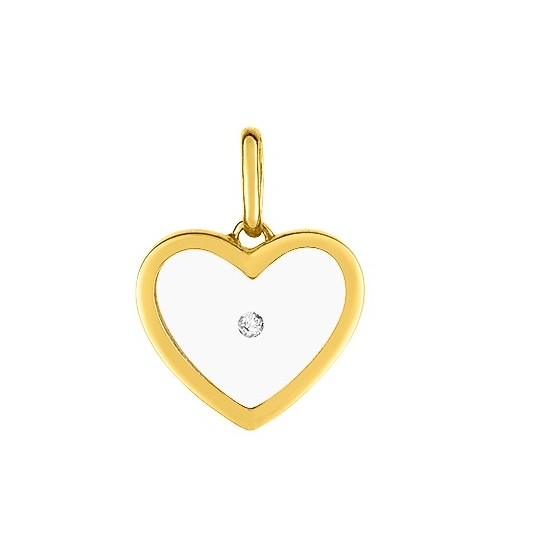 Pendentif coeur transparent, Or jaune 9K et diamant - Emanessence