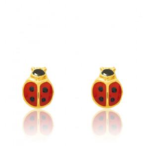Boucles d'oreilles petite Coccinelle, Or jaune 9 et 18K - Emanessence