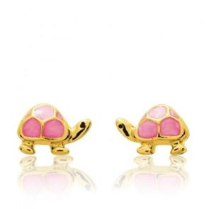 Boucles d'oreilles Tortue rose, Or jaune 9 ou 18K - Emanessence