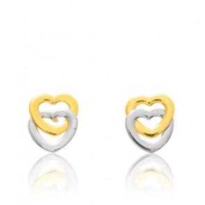Boucles d'oreilles Coeurs liés, 2 Ors 9 ou 18K - Emanessence