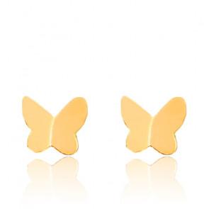 Puces d'oreilles Papillon, Or jaune 9 ou 18 carats - Emanessence