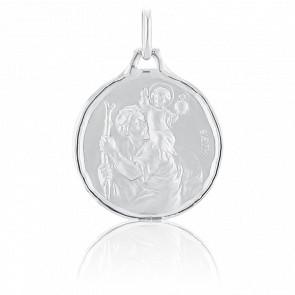 Médaille St Christophe, Or blanc 18K - Augis