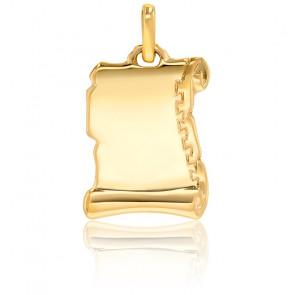 Pendentif petit parchemin stylisé , Or jaune 18K - Emanessence