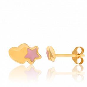 Boucles d'oreilles enfant Cœur étoilé, Or jaune 18K - Bambins
