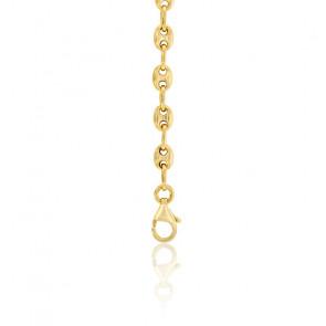 Bracelet Grain de Café Creux, Or Jaune 9K, 16 cm - Manillon