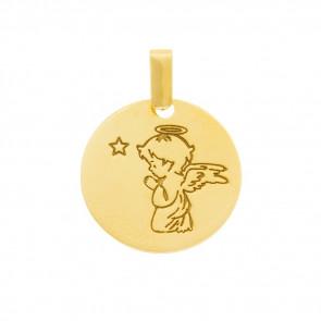 Médaille petit ange à genoux, Or jaune 9 ou 18K - Rosatella