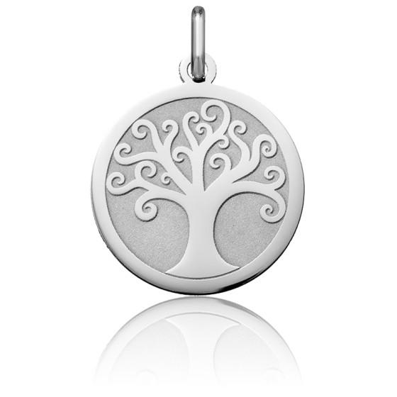 Médaille Arbre de Vie en Arabesque, Or blanc 18K - Argyor