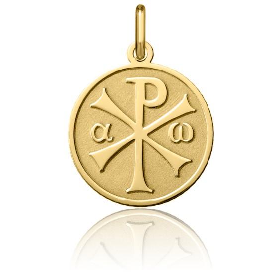 Médaille Chrisme finition sablée, Or jaune 18K - Argyor