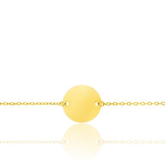 Gourmette plaque ronde et maille forçat, Or jaune 18K - Lucas Lucor