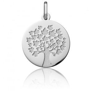 Médaille Arbre de Vie Feuilles d'Erable, Or Blanc 18K - Argyor