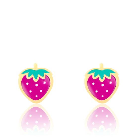 Boucles d'oreilles fraises roses, Or jaune et émail - Bambins
