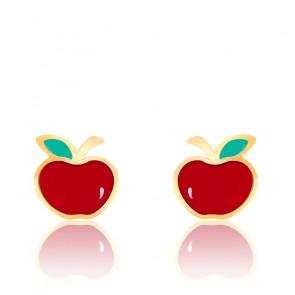 Boucles d'oreilles pomme rouge, Or jaune et émail - Bambins