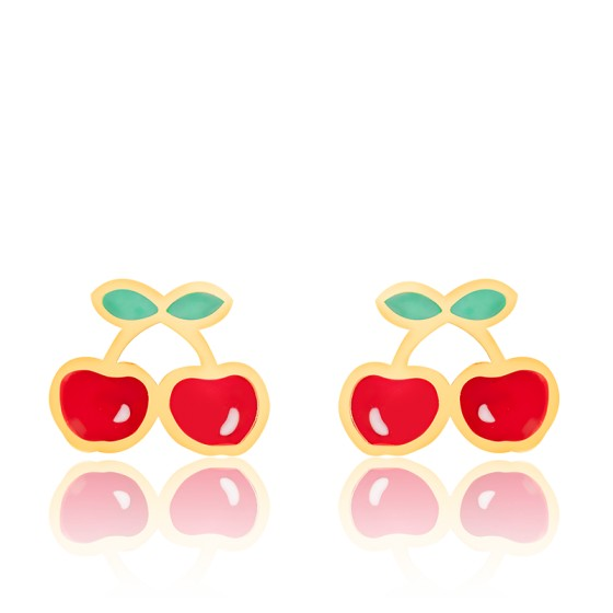 Boucles d'oreilles cerises, Or jaune et émail - Bambins