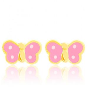 Boucles d'oreilles papillons roses, Or jaune et émail - Bambins