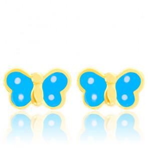Boucles d'oreilles enfant papillons bleus, Or jaune 9 ou 18K - Bambins
