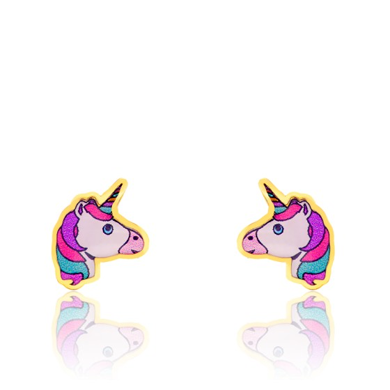 Boucles d'oreilles licorne, Or jaune 9 ou 18K - Bambins