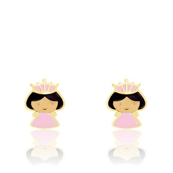 Boucles d'oreilles princesse, Or jaune 9 ou 18K et émail - Bambins