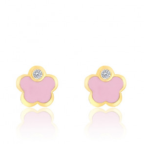 Boucles d'oreilles fleur oxyde, Email rose & Or jaune - Bambins