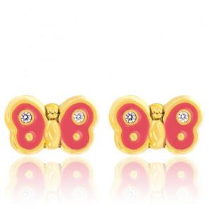 Boucles d'oreilles enfant papillon rose, Or jaune et zyrcon - Bambins