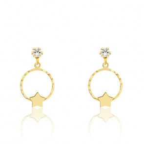 Boucles d'oreilles cercle étoilé, Or jaune et zyrcon - Bambins